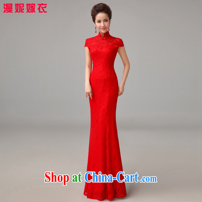 man she married Yi Manni long lace crowsfoot dresses 2015 New Red toast clothing stylish wedding dresses Evening Dress girl XXL
