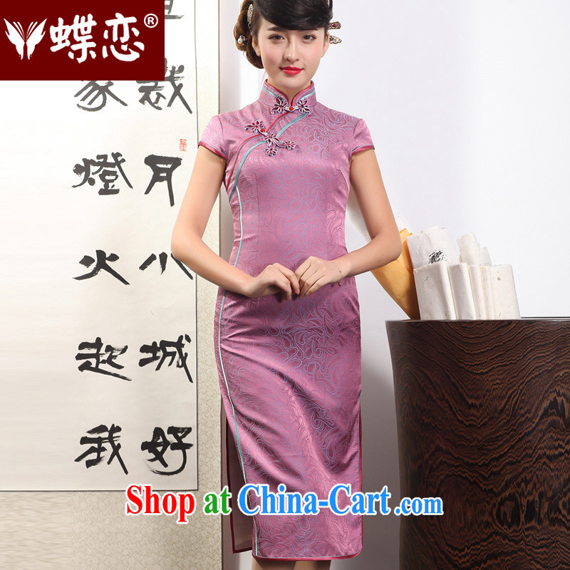 Butterfly Lovers spring 2015 the new, improved and stylish beauty cheongsam dress retro long daily Silk Cheongsam 51,223 purple gas to S