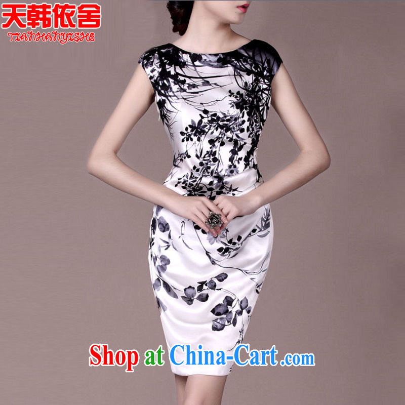 Days in Korea (ThYs) 2015 Spring Standard silk stamp sauna silk heavy Silk Dresses qipao TH 7065 white XL