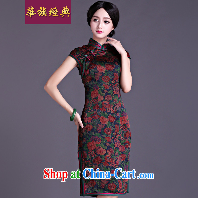 China classic 2015 spring and summer New Silk fragrant cloud yarn short sleeve cheongsam dress retro beauty Ms. traditional cheongsam floral L