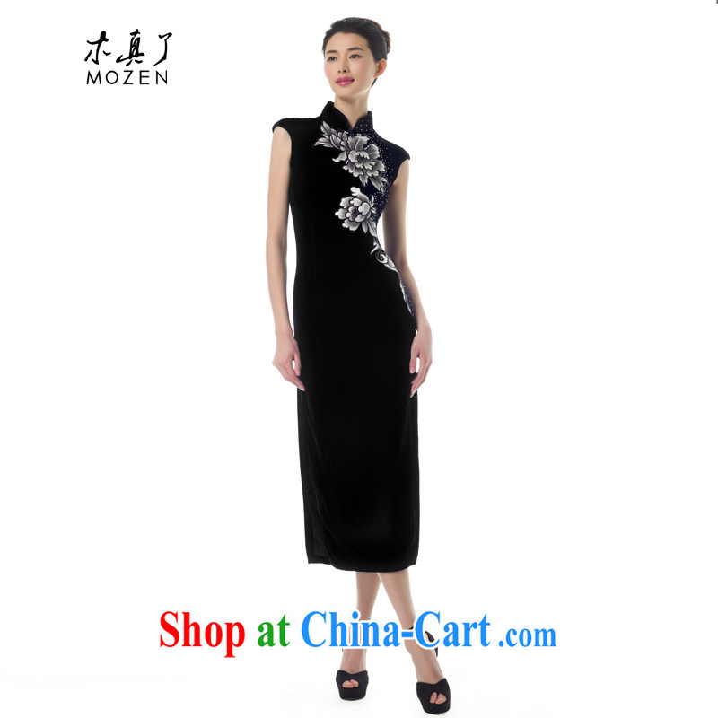 Wood is really the Chinese 2015 spring new silk dress Stylish retro velvet cheongsam dress long, 53,372 01 black XL (pre-sale)