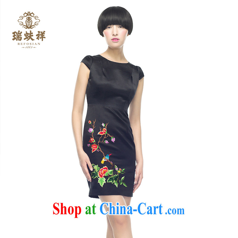 Ryan and Eric LI and embroidery dress hand embroidered flower pattern antique dresses beauty black M