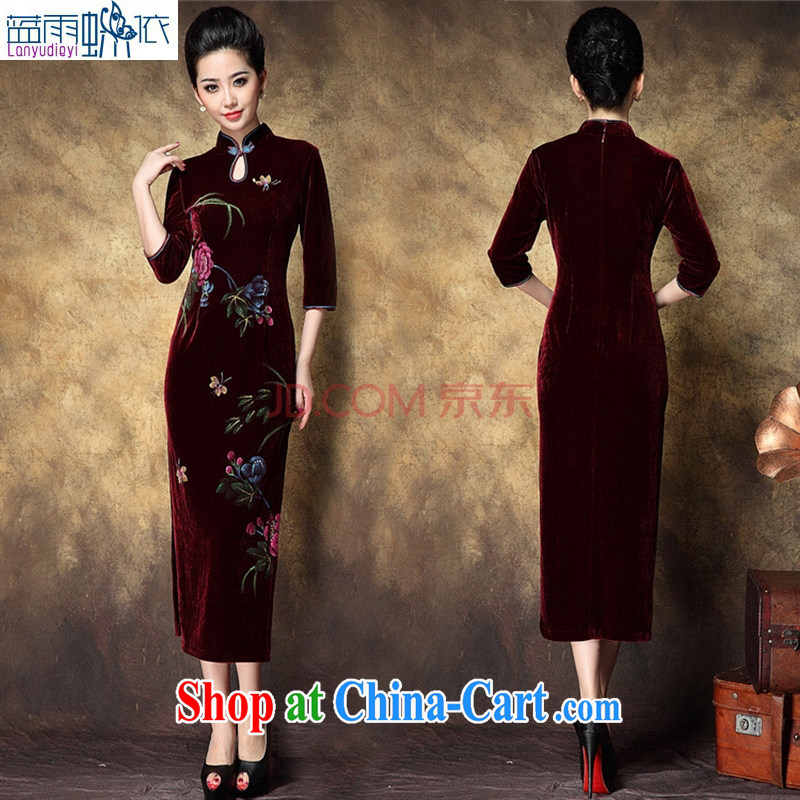 Ya-ting store wedding dress Chinese qipao improved stylish low the forklift truck velour hand-painted flowers retro long cheongsam mom with maroon XXL