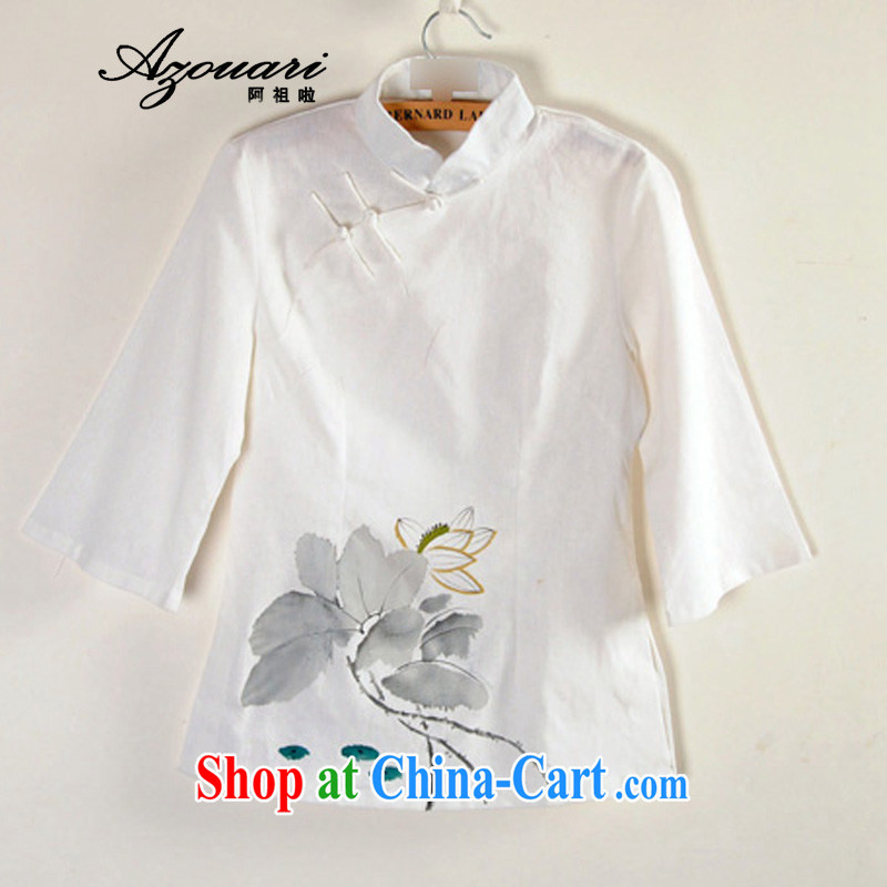 The TSU defense _Azouari_ Improved Han-T-shirt _spring_summer with new cotton the tea service 7 cuff Han-chinese female white XL