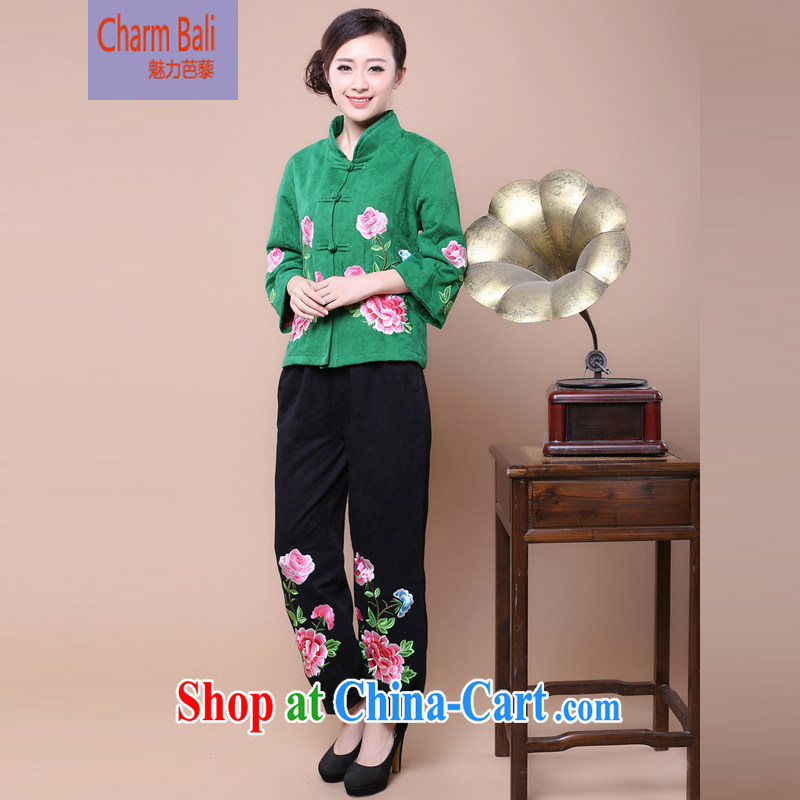 2015 spring girls decorated in stylish cotton jacquard Tang jackets kit to sell green package XXXXL