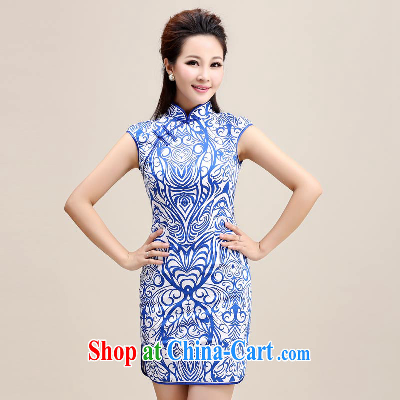 The Tang dynasty beauty stamp duty No stamp duty cuff cheongsam dress TXF 41,104 Blue on white shading S