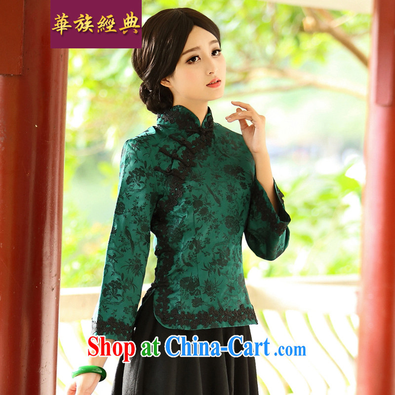 2015 SPRING CHINESE Tang Women's clothes retro T-shirt Han-improvement Ms. stylish jacket long-sleeved costumes green XXXL