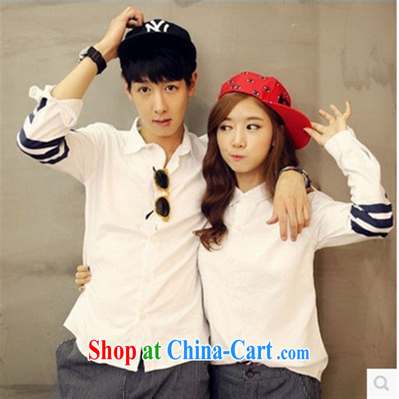 Ya-ting store 2015 spring new love Korean alphabet stitching lapel long-sleeved stamp lovers shirt, white uniform XXL