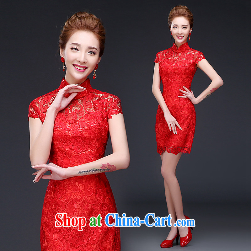 The Vanessa cheongsam dress summer 2015 new bride's toast clothes winter clothes marriages, short Chinese improved short red dresses, Beauty video thin cheongsam ball red short wedding dresses skirt XXL