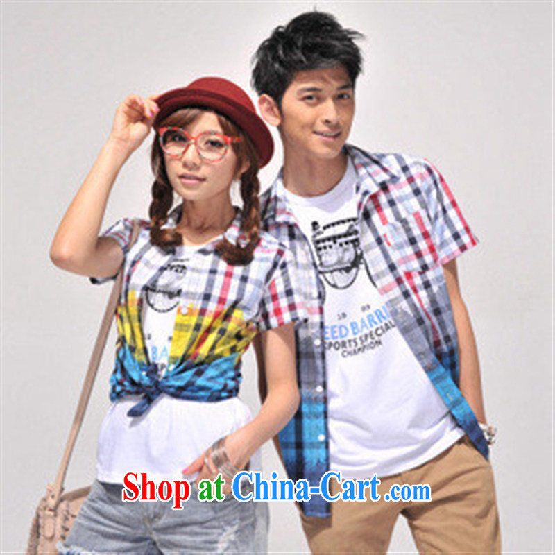 Qin Qing store couples replace checked short-sleeved Korean couples with 946,673 (Offer) red cell XXL