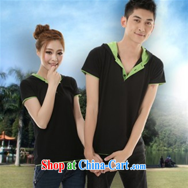 Qin Qing store couples with a short-sleeved Couple T-shirts students serving 946,681 black with green edge XXXL