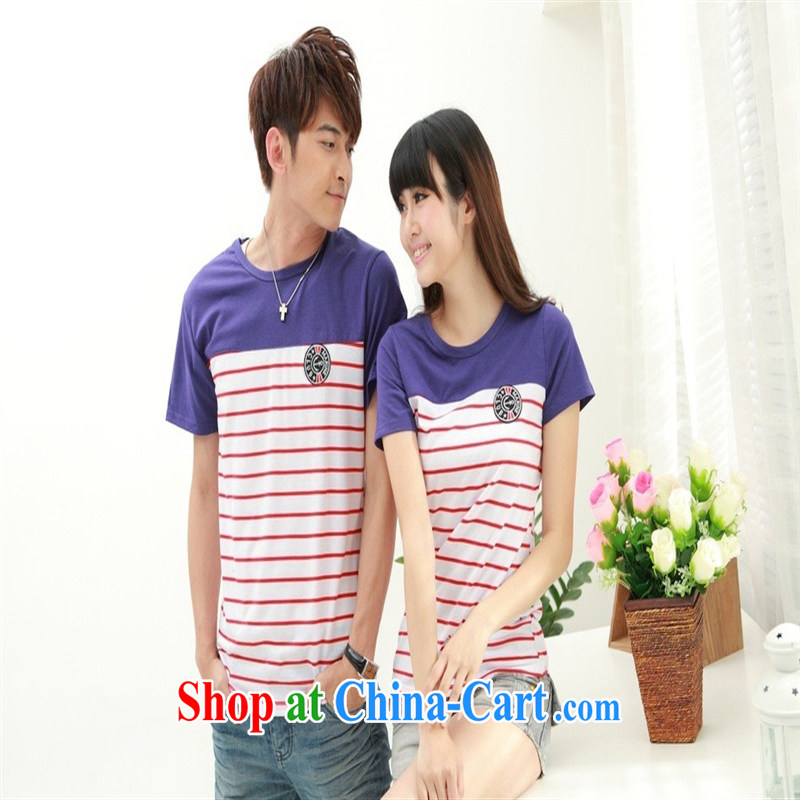 Deloitte Touche Tohmatsu sunny store new short-sleeved striped stitching couples replace FL 38,055 serving on the uniforms of red XXXL