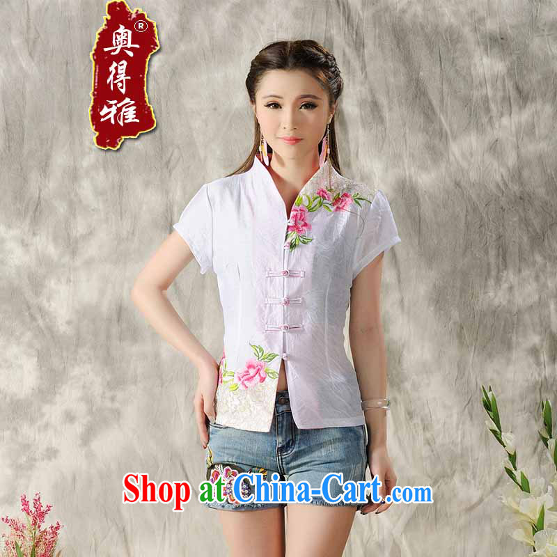 A Mayan peoples, 2015 new Peony embroidery Chinese, summer/Chinese improved short-sleeved T-shirt outfit white XXL