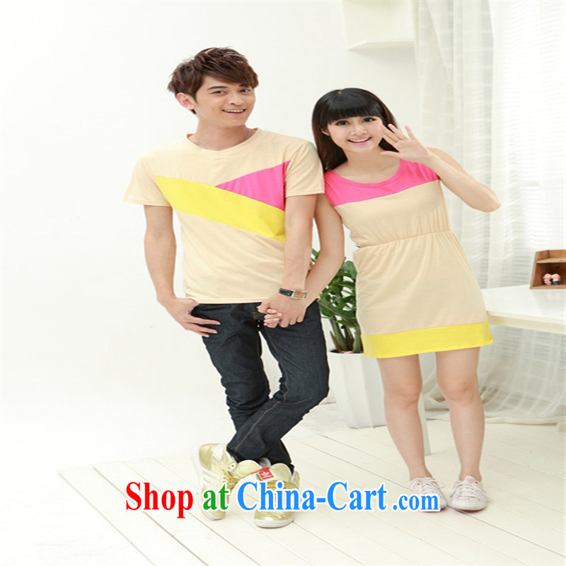Deloitte Touche Tohmatsu sunny store new short-sleeved couples replace belt plus 5 FL _38,066 serving on the service light apricot male XXL