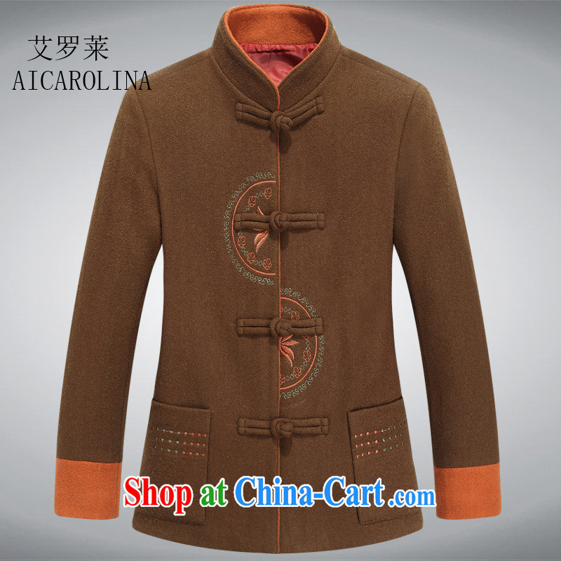The spring, new and old in Spring and Autumn and female jacket hair? jacket clothing grandmother Chinese Tang with brown 3 XL