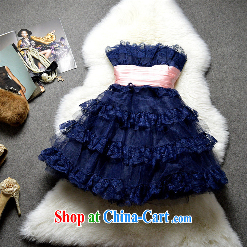 The European site female new Korean wiped chest Web yarn dress skirt 123,184 dark blue XXL