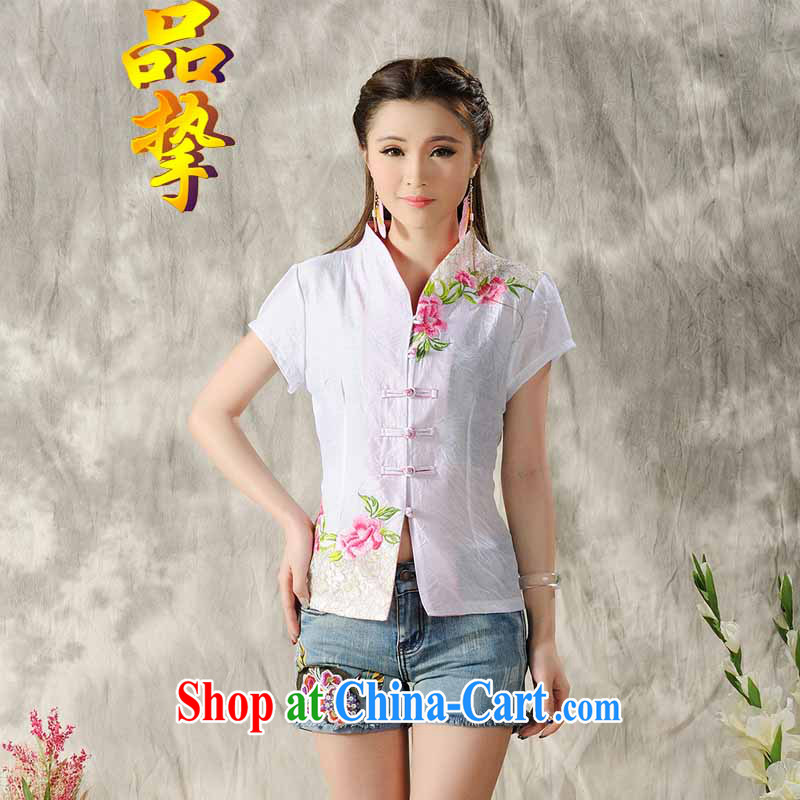 For achieving national wind 2015 new Peony embroidery Chinese ladies summer/Chinese improved short-sleeved T-shirt outfit white XXL