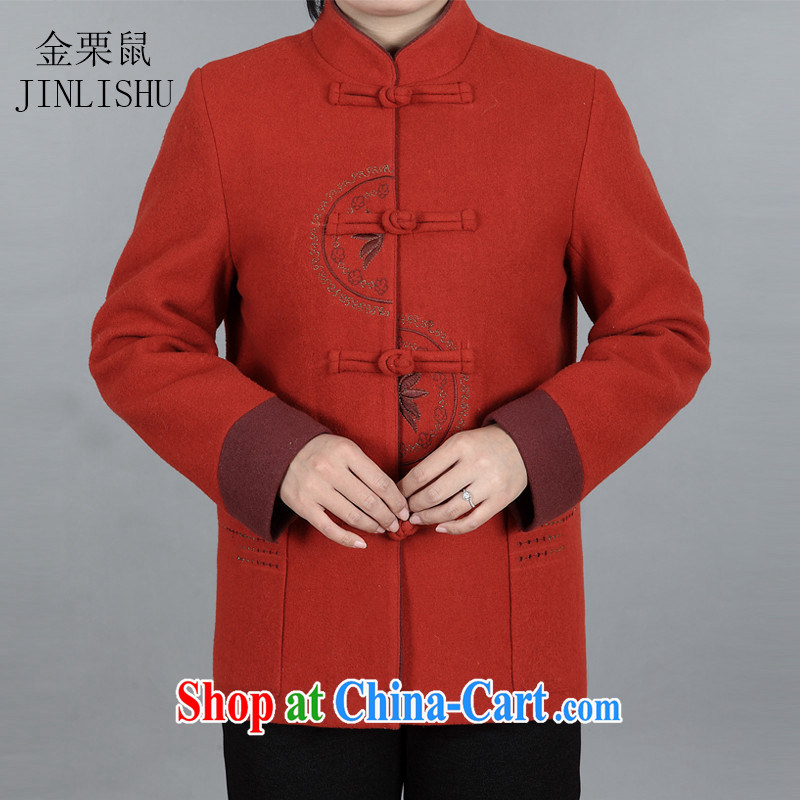 The chestnut mouse, Chinese elderly in new female Chinese female T-shirt mom with spring loaded long-sleeved sweater jacket wine red XXXL