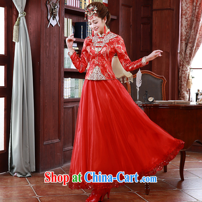 A good service is 2015 New Spring Summer bridal wedding dress Chinese married Yi long-sleeved cheongsam dress uniform toast fall, 9 cuff XL 3