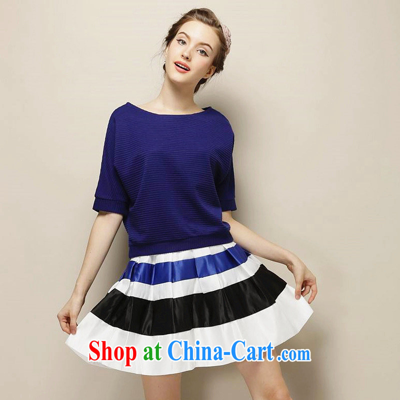 Ya-ting store 2014 spring New England wind loose bat sleeves knitted T-shirt T-shirt 100 hem striped aprons body skirt blue skirt body purchased $63