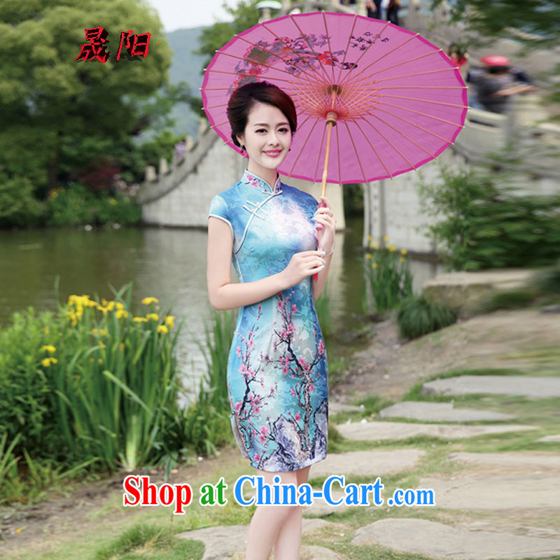 Sung-yang 2015 new summer edition Korea cultivating Chinese collar half sleeve cheongsam stylish stamp dresses Phillips-head XXL