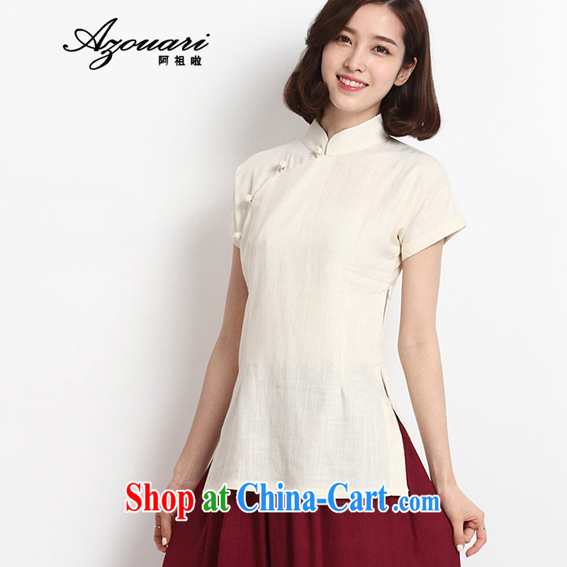 The TSU defense _Azouari_ 2015 spring and summer new Chinese REPUBLIC OF WOMEN wind load, service improvement, short-sleeved cotton the cheongsam shirt white XL