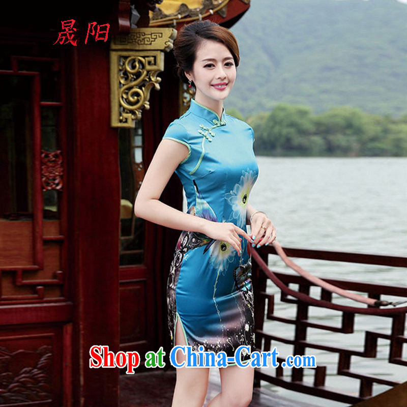 Sung-yang 2014 new summer and autumn OL loaded commuter half sleeve and collar Beautiful Stamp embroidery antique China wind cheongsam dress dresses blue butterfly XXL