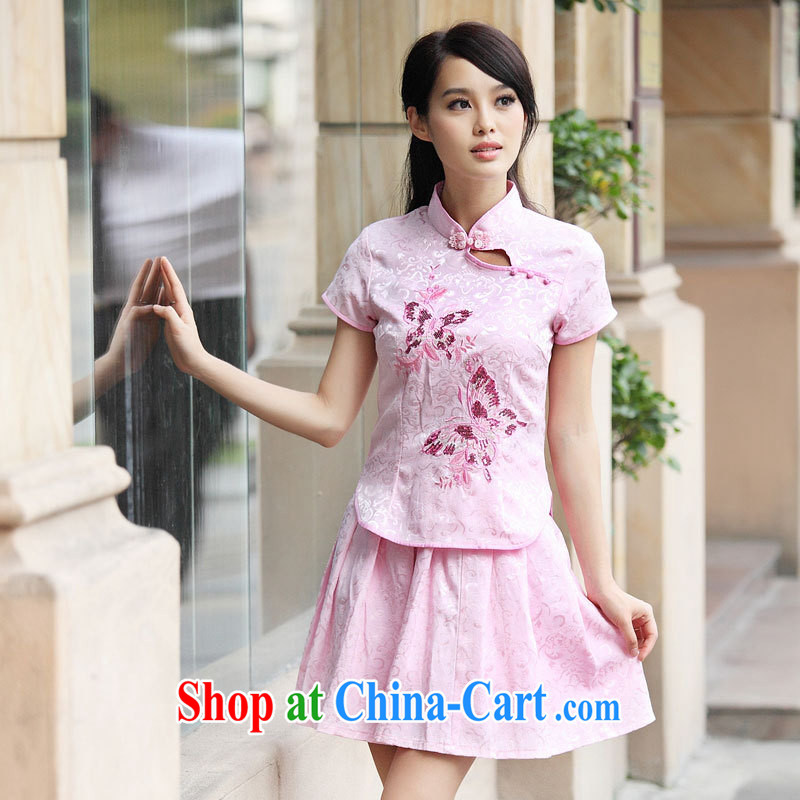 Ya-ting store 2014 New and Improved stylish embroidered 2 piece dress video waist dresses summer dresses dresses blue XL