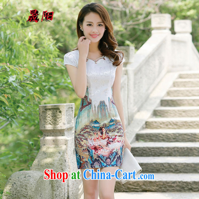 Sung Yang 2015 spring and summer new Korean Beauty party for staple Pearl beautiful stamp duty and stylish retro dress short-sleeved qipao dresses gold beauty figure XL