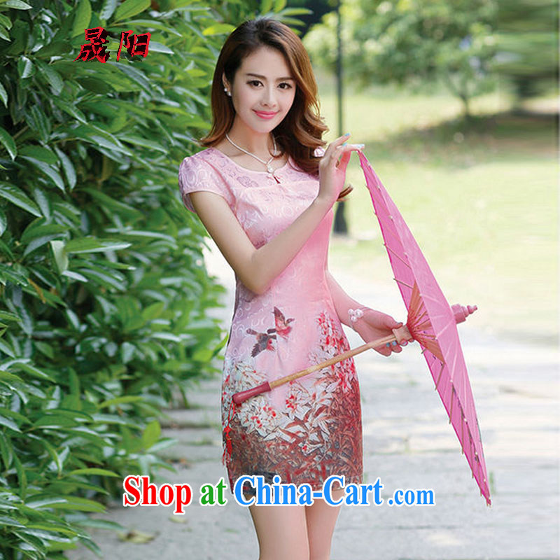 Sung Yang 2015 spring and summer new Korean beauty with beautiful stamp duty and Stylish retro style ladies short sleeve cheongsam dress toner 100 A XXL