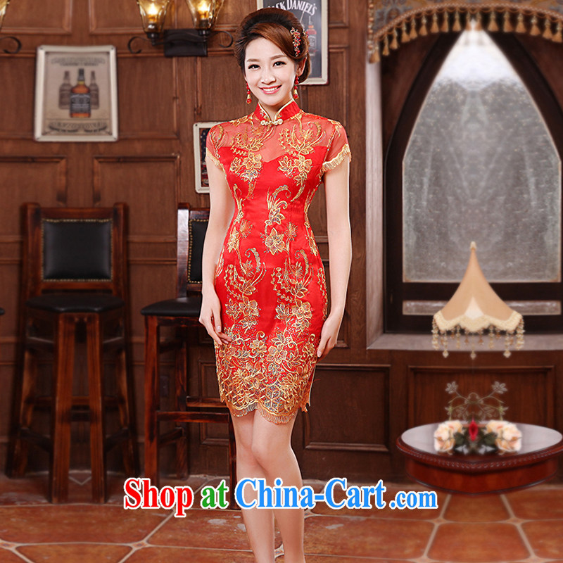 Honey, bride short cheongsam marriages served toast red 2015 new improved retro large code cheongsam graphics thin dress red XXL