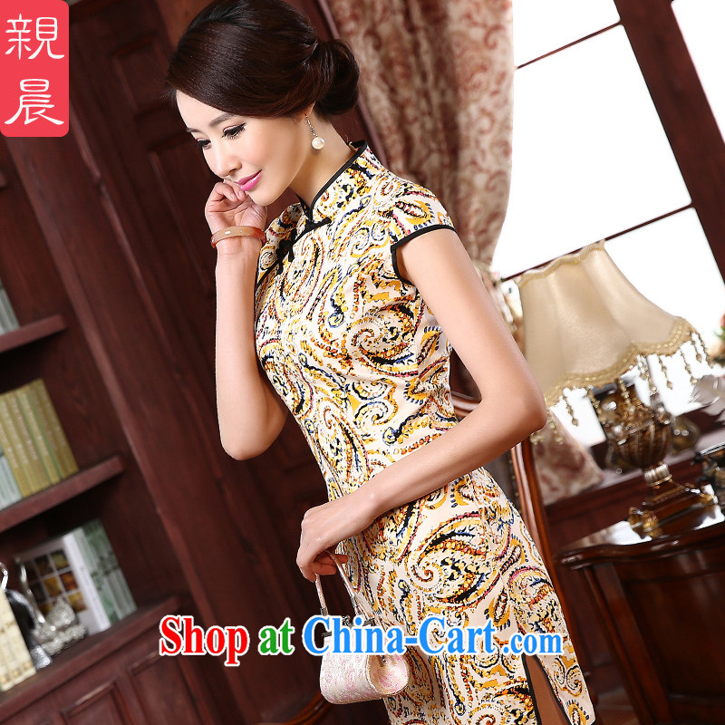 The pro-am -- New, spring 2015 daily cultivating short, short-sleeved the forklift truck retro style improved cheongsam dress suit 2 XL - waist 80 CM