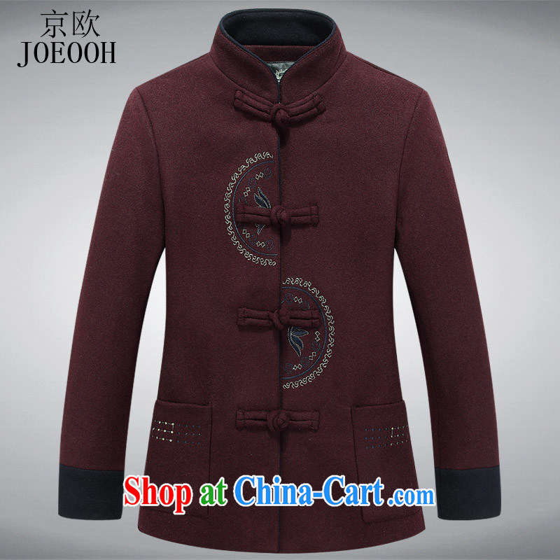 Beijing the Chinese hair? jacket coat in Ms. older autumn and winter leisure daily liberal mother jackets wine red XXXL