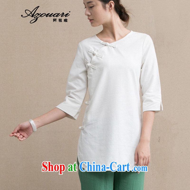 The TSU defense (Azouari) original Chinese T-shirt-tie cotton the cheongsam coat cardigan Zen robe Tea Service linen comfortable cream L
