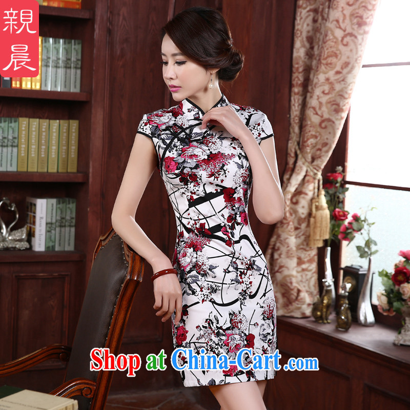 The pro-am 2015 as soon as possible new dresses and stylish improved short-sleeved short, the forklift truck antique cheongsam dress red 2 XL - waist 80 CM