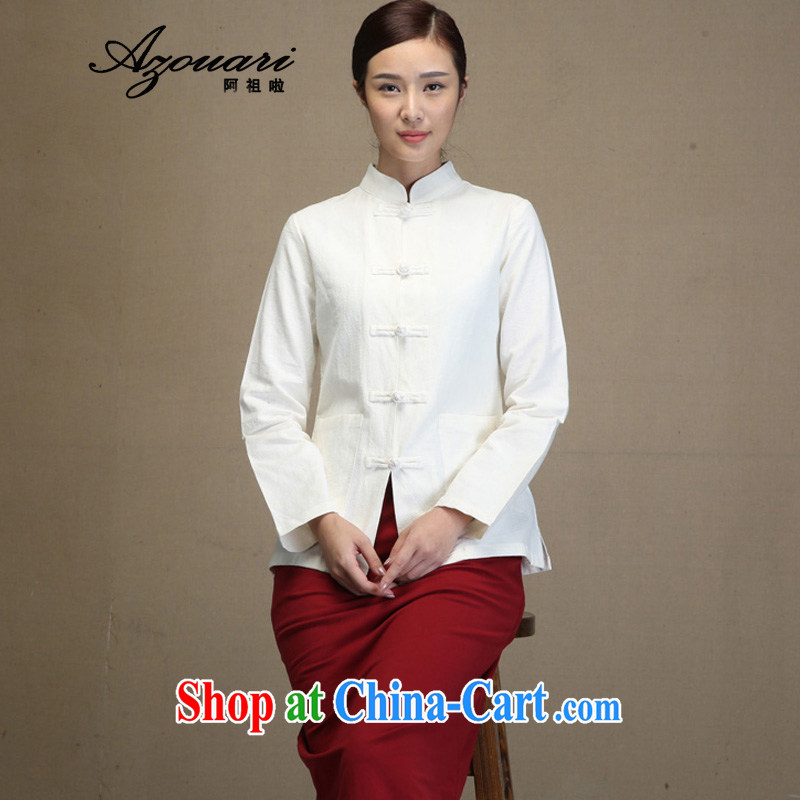 The TSU defense (Azouari) Chinese Chinese improvements Ms. smock shirt long-sleeved manual Chinese cardigan linen women's coats white M pre-sale 7 day shipping