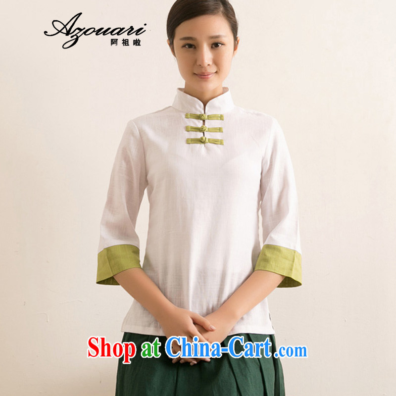 The TSU defense _Azouari_ spring and summer improved Han-loaded female Tang dynasty dresses T-shirt Tea Service spell Color cotton the comfortable ethnic wind white spell green cuffs M