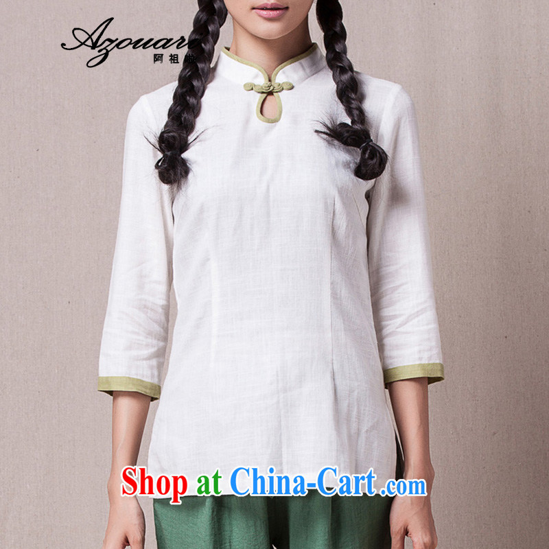 The TSU defense (Azouari) 2015 spring China wind improved Han-female cheongsam shirt 7 cuff comfortable cultivating tea, tea service white XL