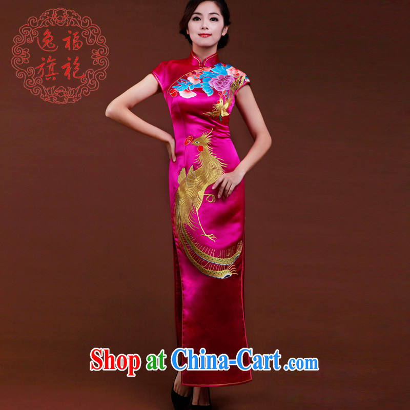 once and for all, the Phoenix embroidery cheongsam dress retro spring Chinese dinner dress uniform toast bridal dresses, long the red tailored 25 day shipping