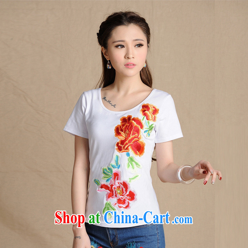 9201 EX sources source ethnic wind women 2015 New Beauty embroidered short sleeves round neck 100 ground T pension white 2XL