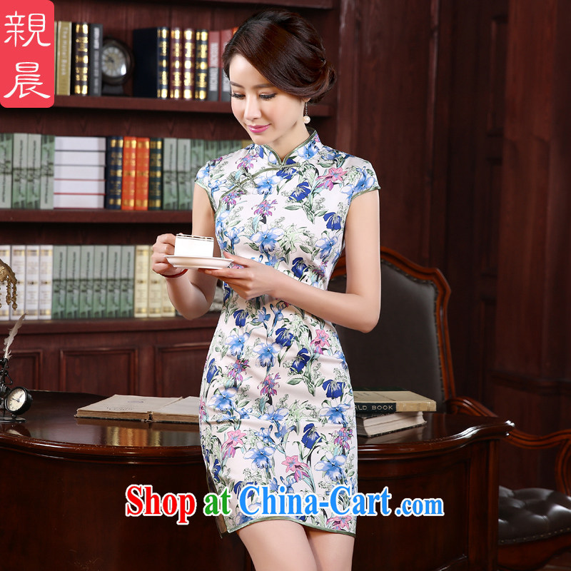 The pro-am 2015 as soon as possible new dresses and cultivating retro the forklift truck improved stylish short, short-sleeved cheongsam dress suit 2 XL - waist 80 CM