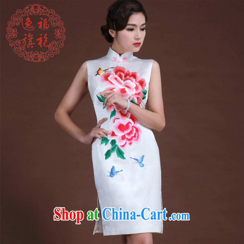 once and for all high-Manual custom peony flower embroidery Chinese dinner dress spring white silk cheongsam white L 20 day shipping