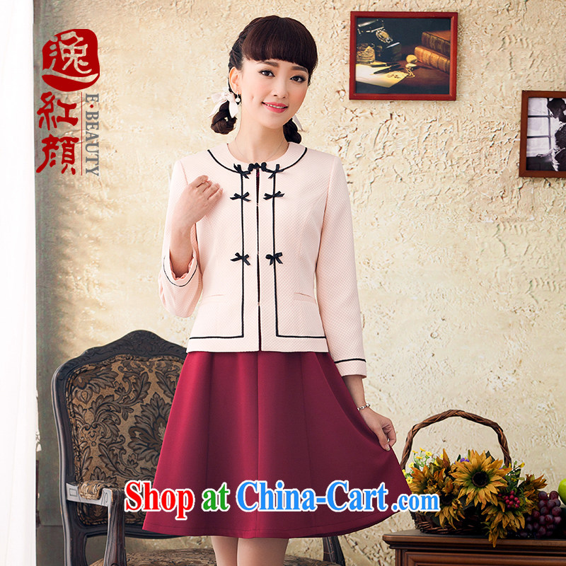 once and for all and fatally jealous Xiang new long-sleeved jacket Spring Summer 2015 National wind jacket Ms. Chinese commuter T-shirt pink XL