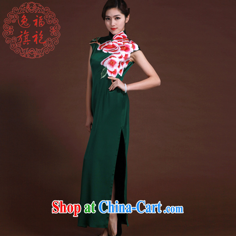 once and for all, high-end custom manual cheongsam dress girls dinner Chinese Dress spring 2015 silk embroidery cheongsam deep dark green tailored 20 day shipping