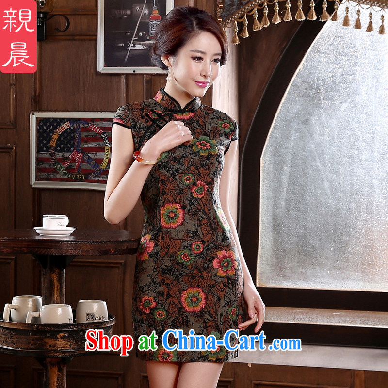 The pro-am 2015 as soon as possible new Daily Beauty retro short-sleeved short improved stylish the forklift truck cotton cheongsam dress dark red 2 XL - waist 80 CM