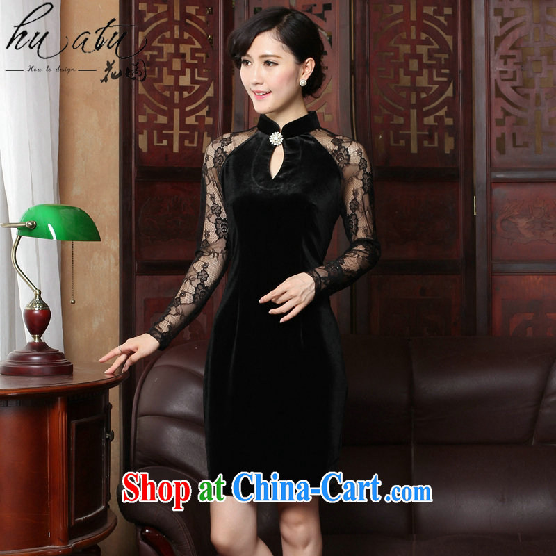 Take the spring and summer cheongsam dress manually staple Pearl exclusive gold velour robes, for graphics thin style wedding dress cheongsam dress black 2 XL