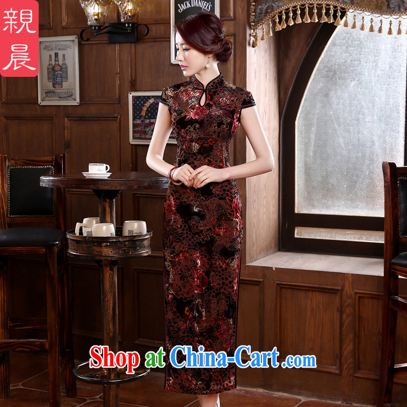 pro-am 2015 new spring and summer retro high long-wool improved middle-aged and older wedding cheongsam dress mom with fancy XL - waist 77 cm - 5 day