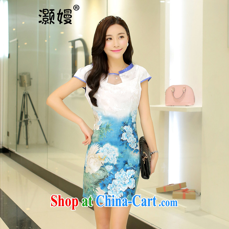 Golden Harvest, summer 2015 new dresses summer Korean bows clothing beauty graphics thin large code Chinese Dress is tea clothing ethnic wind cheongsam dress FW 1 light blue Peony M