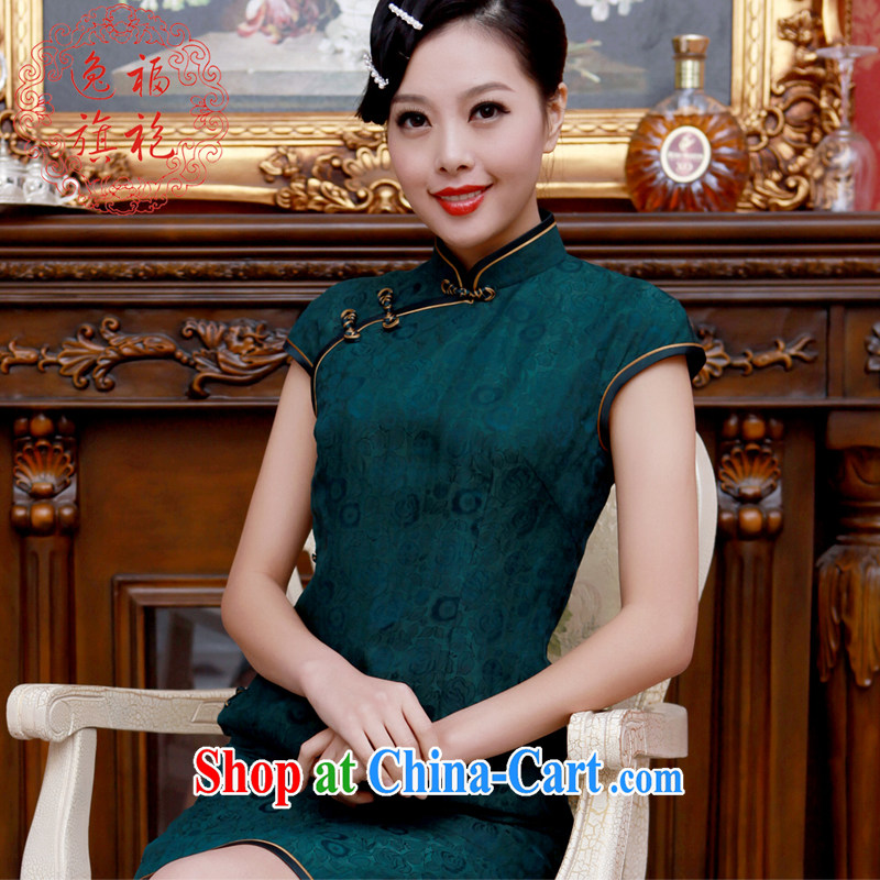 once and for all, dark green silk fragrant cloud dresses dresses 2014 new, advanced customization, short-day antique cheongsam dress dark L 10 day shipping