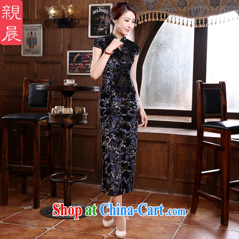 pro-am New 2015 spring and summer long, high quality gold velour cheongsam dress improved retro older wedding MOM black L - waist 73cm - 5 day
